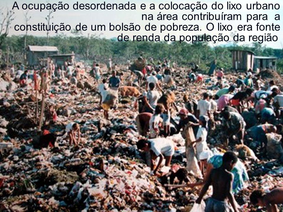 A ocupação desordenada e a colocação do lixo urbano na área contribuíram para a constituição de um bolsão de pobreza. O lixo era fonte de renda da pop