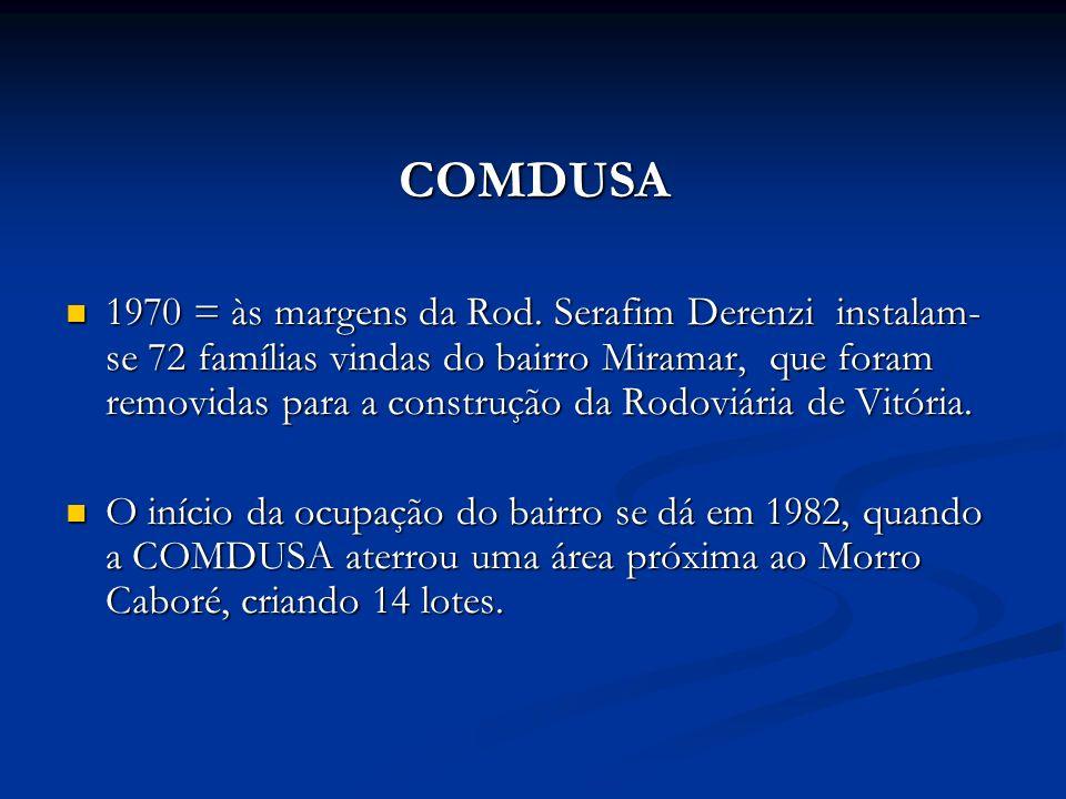 COMDUSA 1970 = às margens da Rod. Serafim Derenzi instalam- se 72 famílias vindas do bairro Miramar, que foram removidas para a construção da Rodoviár