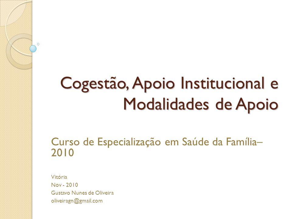 Cogestão, Apoio Institucional e Modalidades de Apoio Curso de Especialização em Saúde da Família– 2010 Vitória Nov - 2010 Gustavo Nunes de Oliveira ol