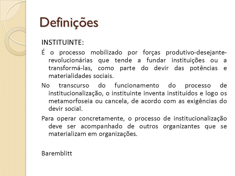 Definições INSTITUlNTE: É o processo mobilizado por forças produtivo-desejante revolucionárias que tende a fundar instituições ou a transformá-las, c