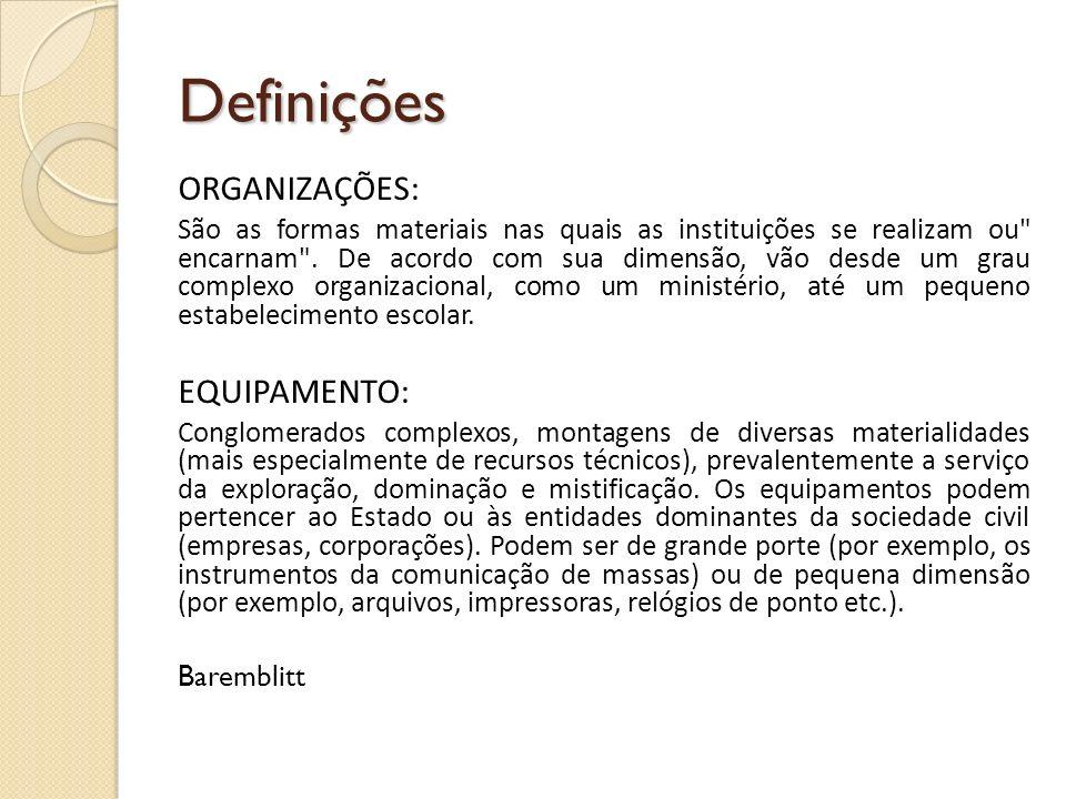 Definições ORGANIZAÇÕES: São as formas materiais nas quais as instituições se realizam ou