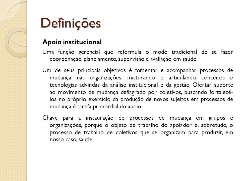 Definições Apoio institucional Uma função gerencial que reformula o modo tradicional de se fazer coordenação, planejamento, supervisão e avaliação em