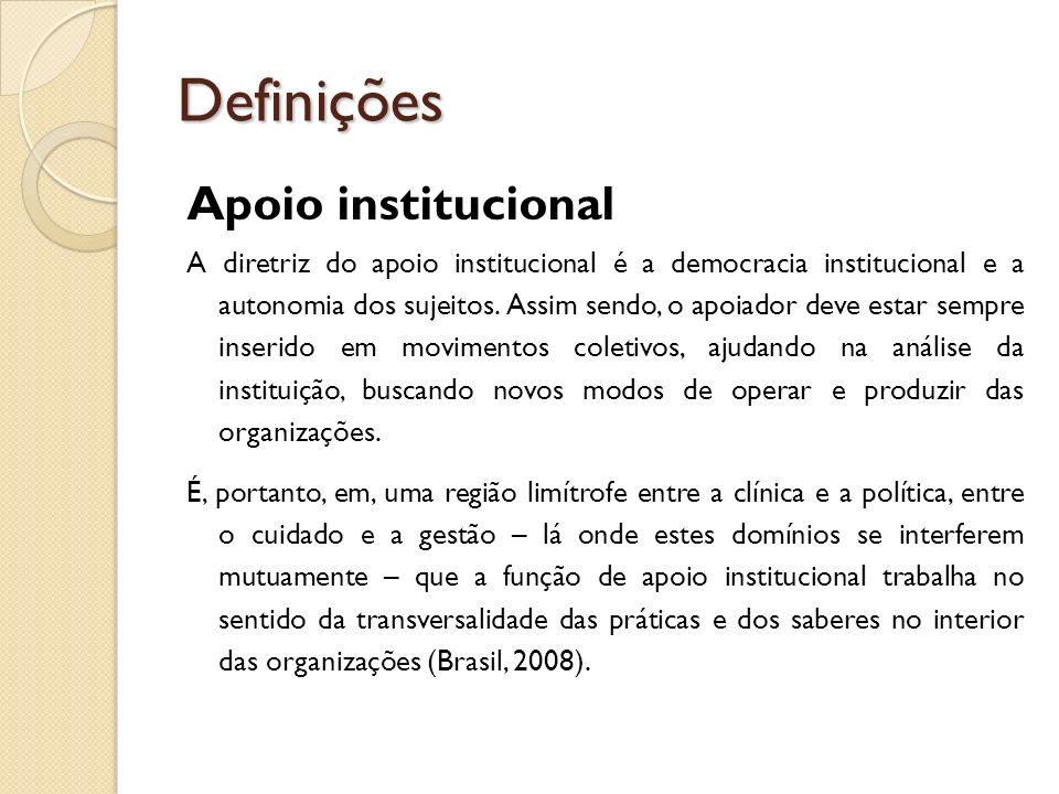 Definições Apoio institucional A diretriz do apoio institucional é a democracia institucional e a autonomia dos sujeitos. Assim sendo, o apoiador deve