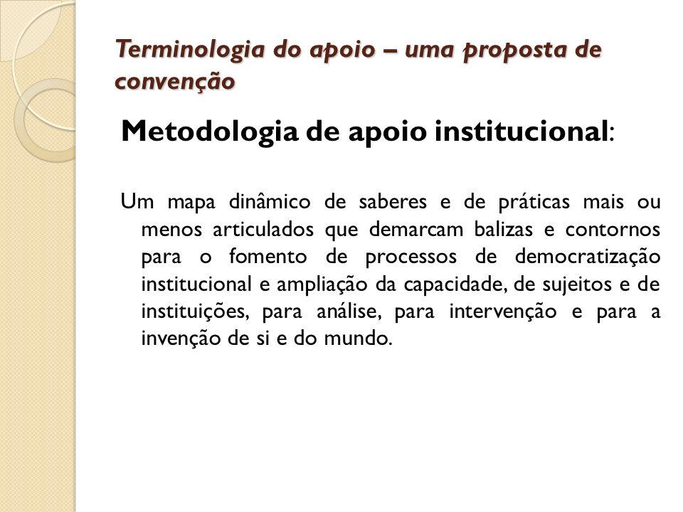 Terminologia do apoio – uma proposta de convenção Metodologia de apoio institucional: Um mapa dinâmico de saberes e de práticas mais ou menos articula