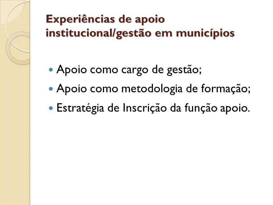 Apoio como cargo de gestão; Apoio como metodologia de formação; Estratégia de Inscrição da função apoio. Experiências de apoio institucional/gestão em