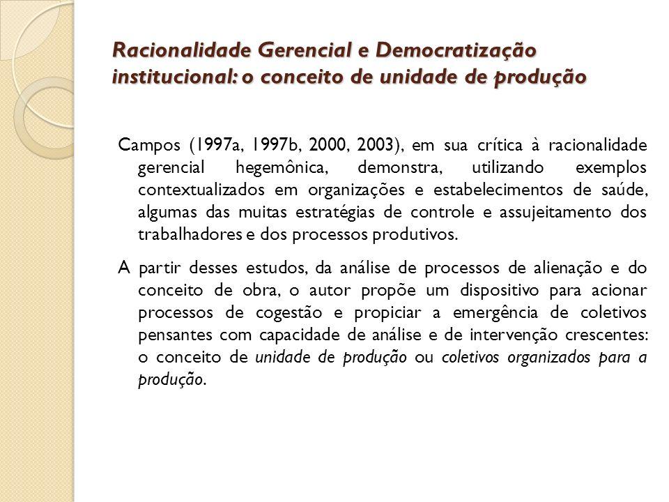Racionalidade Gerencial e Democratização institucional: o conceito de unidade de produção Campos (1997a, 1997b, 2000, 2003), em sua crítica à racional