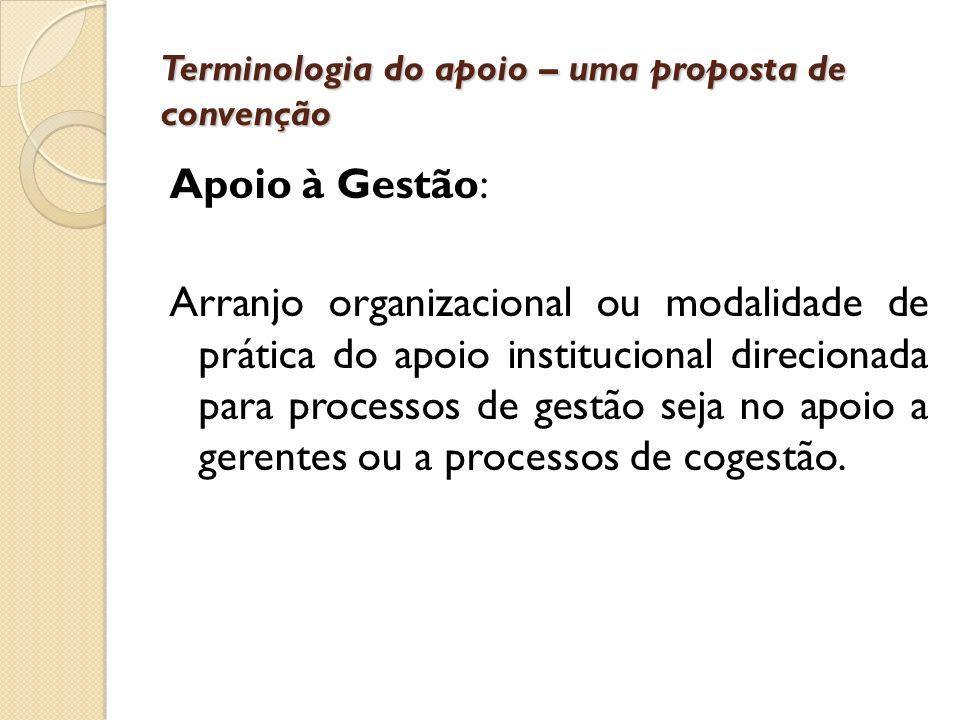Terminologia do apoio – uma proposta de convenção Apoio à Gestão: Arranjo organizacional ou modalidade de prática do apoio institucional direcionada p