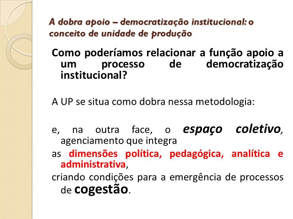 A dobra apoio – democratização institucional: o conceito de unidade de produção Como poderíamos relacionar a função apoio a um processo de democratiza