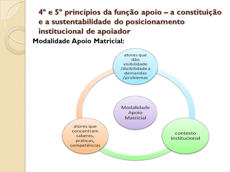 4º e 5º princípios da função apoio – a constituição e a sustentabilidade do posicionamento institucional de apoiador Modalidade Apoio Matricial: