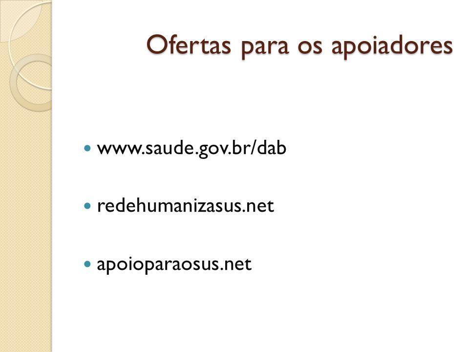 Ofertas para os apoiadores www.saude.gov.br/dab redehumanizasus.net apoioparaosus.net