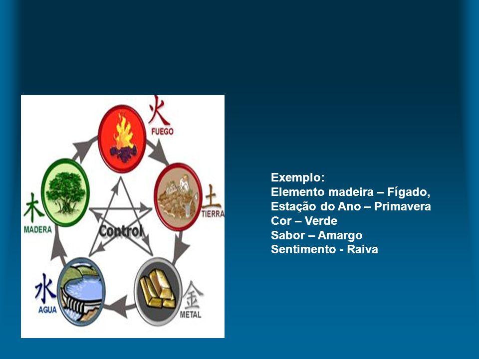 Exemplo: Elemento madeira – Fígado, Estação do Ano – Primavera Cor – Verde Sabor – Amargo Sentimento - Raiva