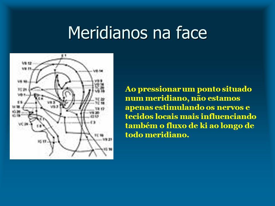Meridianos na face Ao pressionar um ponto situado num meridiano, não estamos apenas estimulando os nervos e tecidos locais mais influenciando também o
