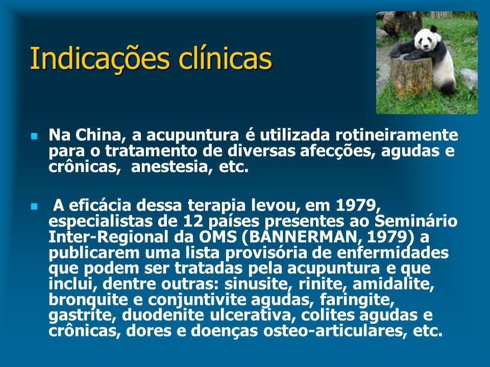 Indicações clínicas Na China, a acupuntura é utilizada rotineiramente para o tratamento de diversas afecções, agudas e crônicas, anestesia, etc. A efi