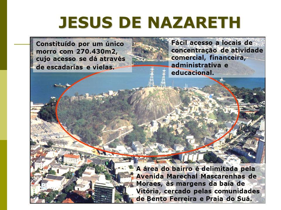 JESUS DE NAZARETH A área do bairro é delimitada pela Avenida Marechal Mascarenhas de Moraes, às margens da baía de Vitória, cercado pelas comunidades