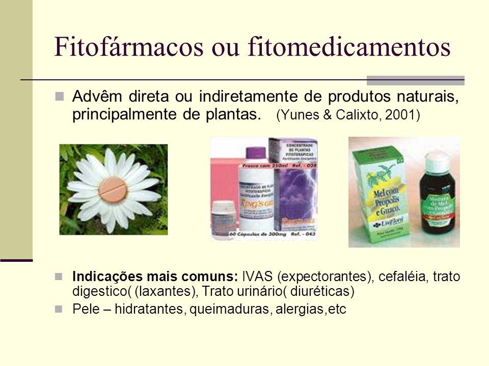 Fitofármacos ou fitomedicamentos Advêm direta ou indiretamente de produtos naturais, principalmente de plantas. (Yunes & Calixto, 2001) Indicações mai