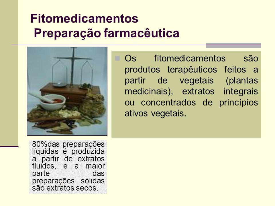 Fitomedicamentos Preparação farmacêutica Os fitomedicamentos são produtos terapêuticos feitos a partir de vegetais (plantas medicinais), extratos inte