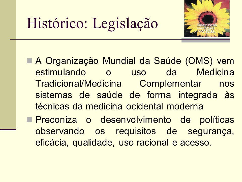 Histórico: Legislação A Organização Mundial da Saúde (OMS) vem estimulando o uso da Medicina Tradicional/Medicina Complementar nos sistemas de saúde d