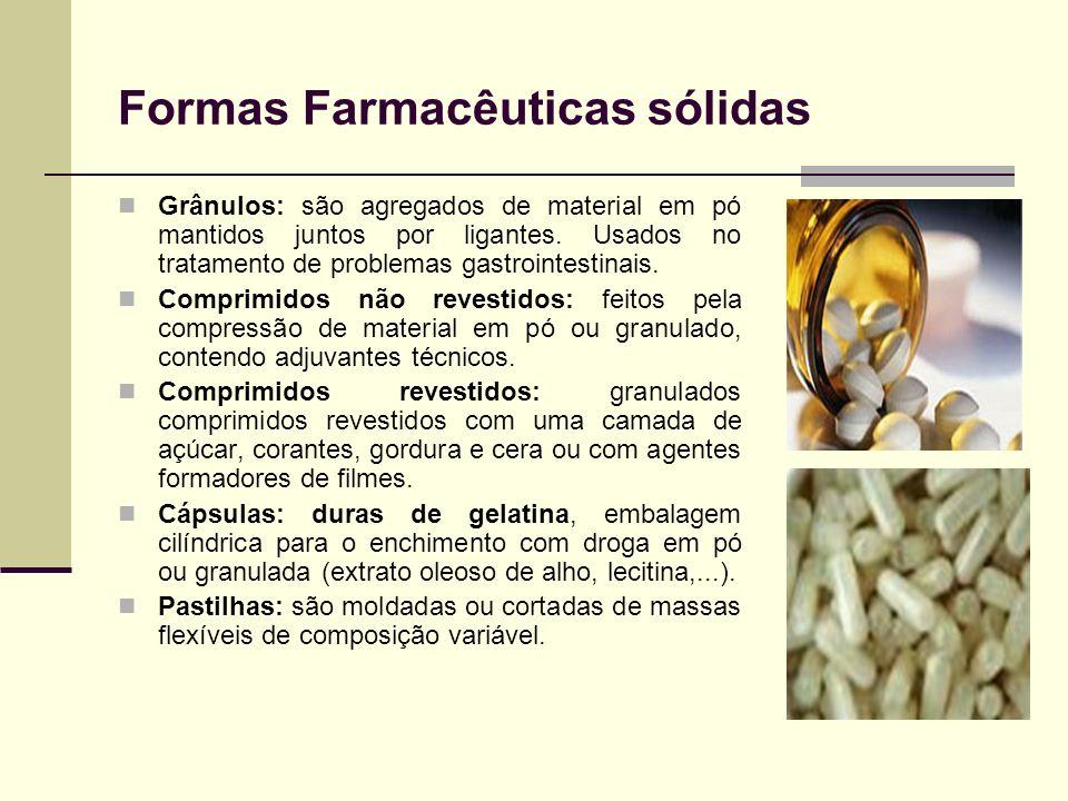 Formas Farmacêuticas sólidas Grânulos: são agregados de material em pó mantidos juntos por ligantes. Usados no tratamento de problemas gastrointestina