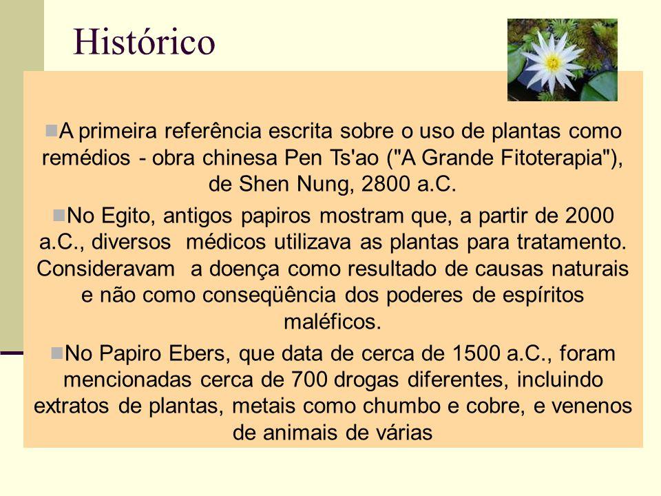 Histórico A primeira referência escrita sobre o uso de plantas como remédios - obra chinesa Pen Ts'ao (