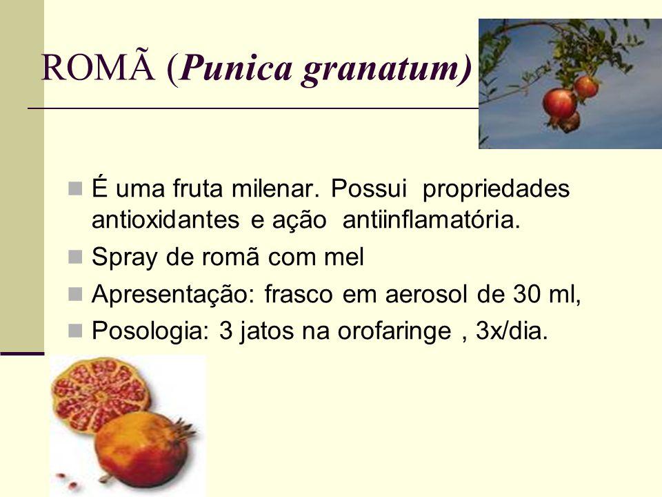 ROMÃ (Punica granatum) É uma fruta milenar. Possui propriedades antioxidantes e ação antiinflamatória. Spray de romã com mel Apresentação: frasco em a
