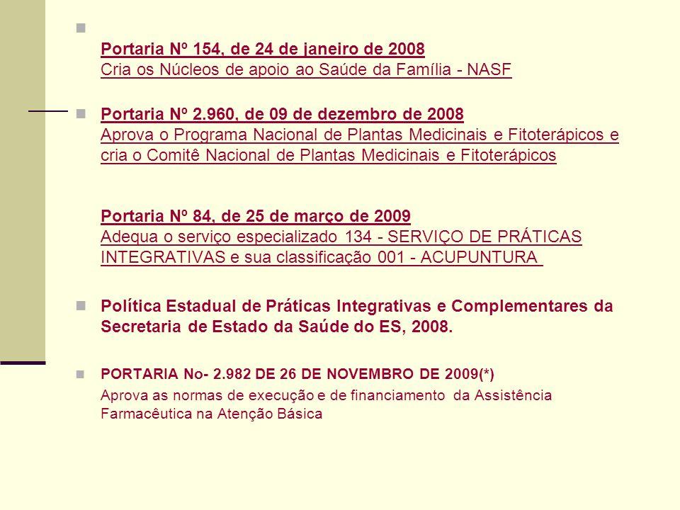 Portaria Nº 154, de 24 de janeiro de 2008 Cria os Núcleos de apoio ao Saúde da Família - NASF Portaria Nº 154, de 24 de janeiro de 2008 Cria os Núcleo