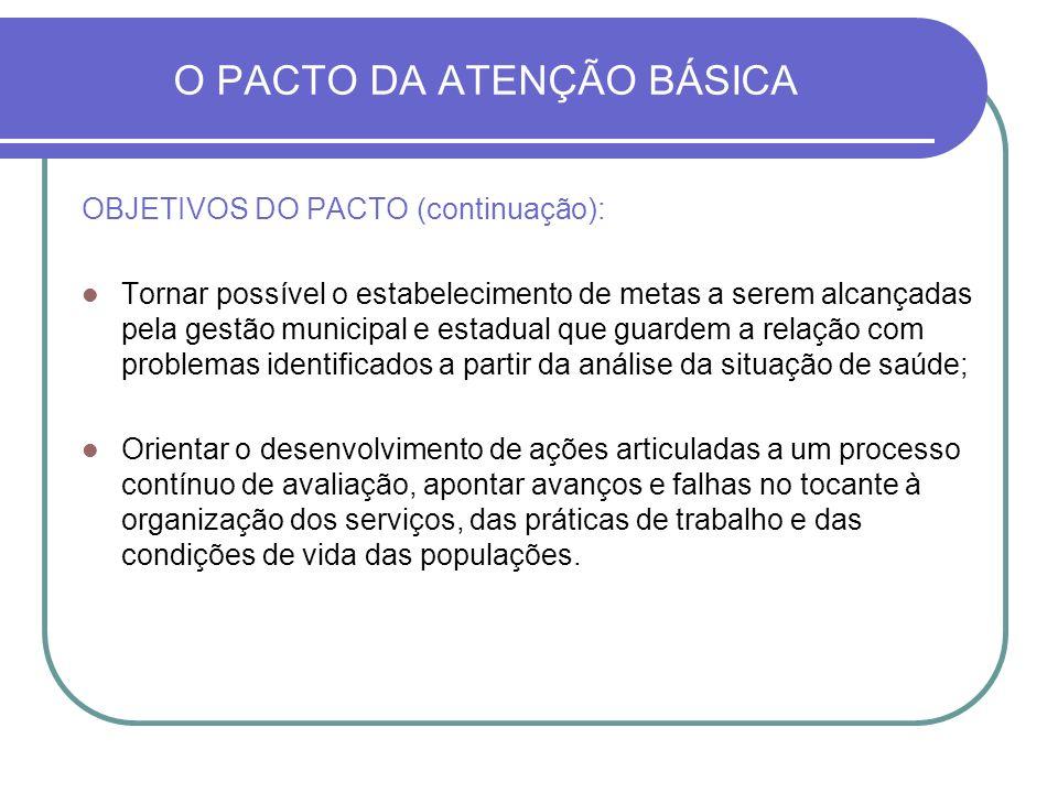 O PACTO DA ATENÇÃO BÁSICA OBJETIVOS DO PACTO (continuação): Tornar possível o estabelecimento de metas a serem alcançadas pela gestão municipal e esta
