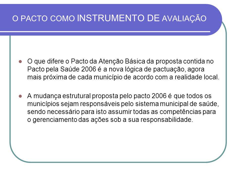 O PACTO COMO INSTRUMENTO DE AVALIAÇÃO O que difere o Pacto da Atenção Básica da proposta contida no Pacto pela Saúde 2006 é a nova lógica de pactuação