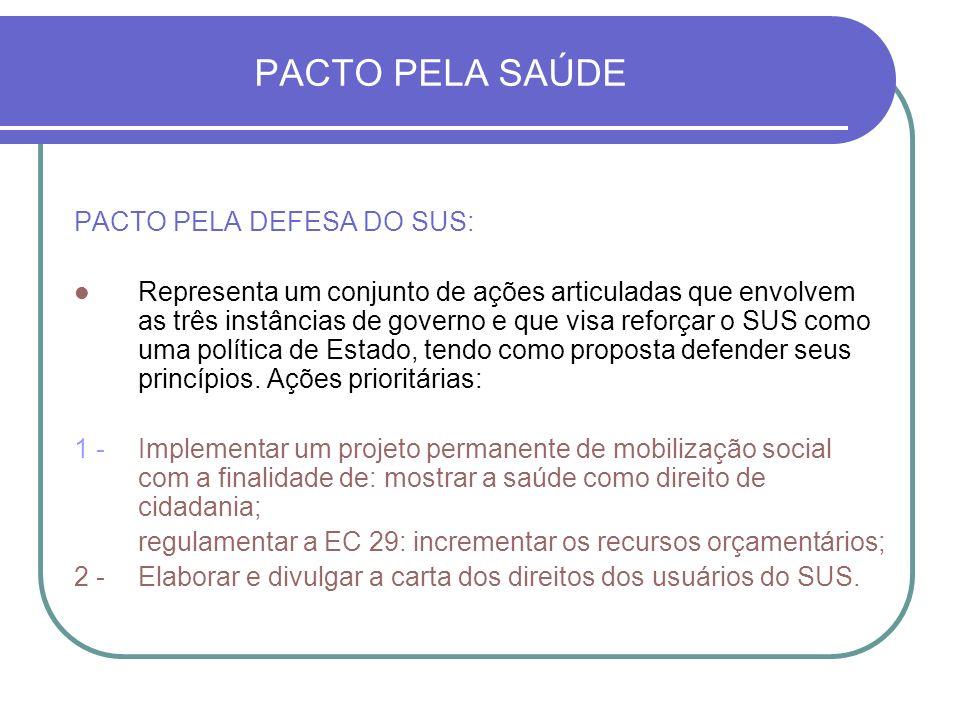 PACTO PELA SAÚDE PACTO PELA DEFESA DO SUS: Representa um conjunto de ações articuladas que envolvem as três instâncias de governo e que visa reforçar