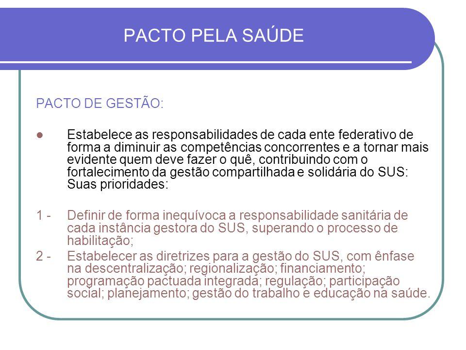 PACTO PELA SAÚDE PACTO DE GESTÃO: Estabelece as responsabilidades de cada ente federativo de forma a diminuir as competências concorrentes e a tornar