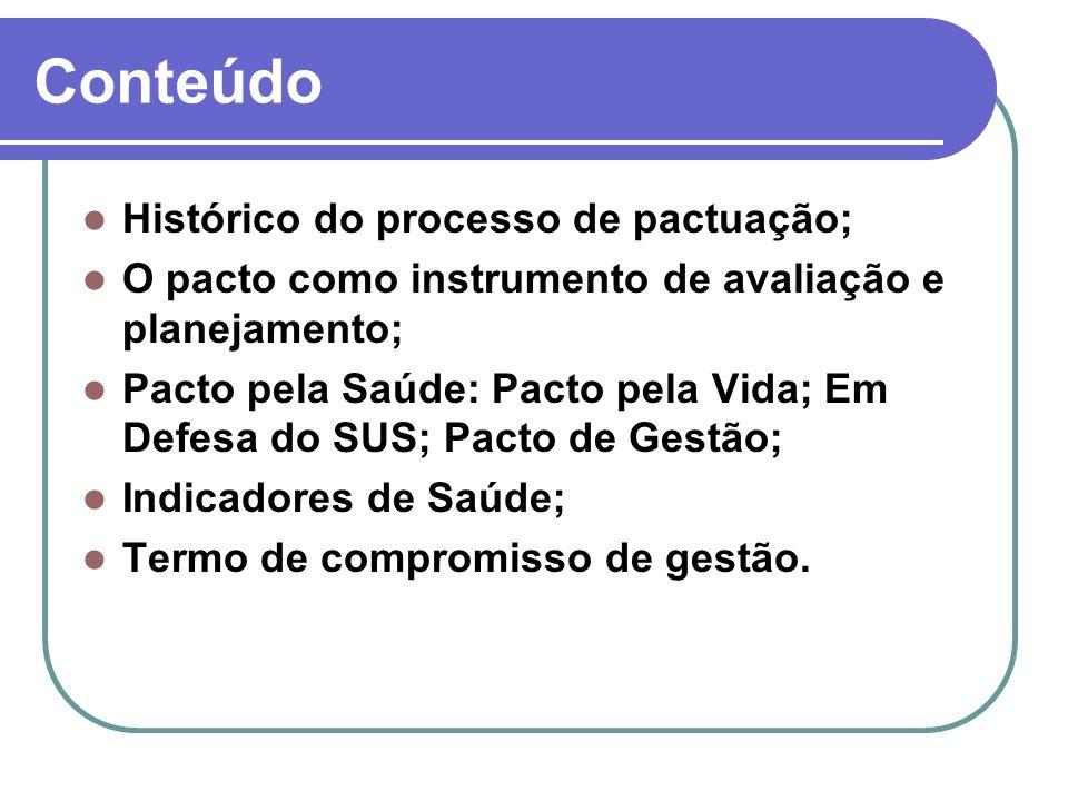 Conteúdo Histórico do processo de pactuação; O pacto como instrumento de avaliação e planejamento; Pacto pela Saúde: Pacto pela Vida; Em Defesa do SUS