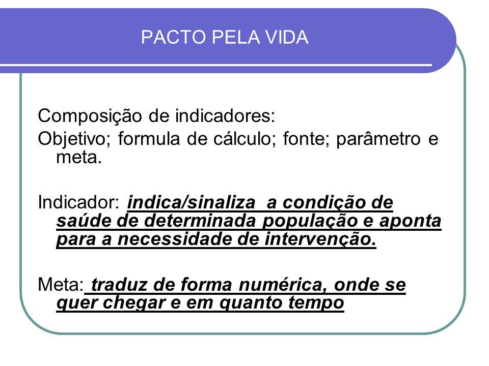 PACTO PELA VIDA Composição de indicadores: Objetivo; formula de cálculo; fonte; parâmetro e meta. Indicador: indica/sinaliza a condição de saúde de de