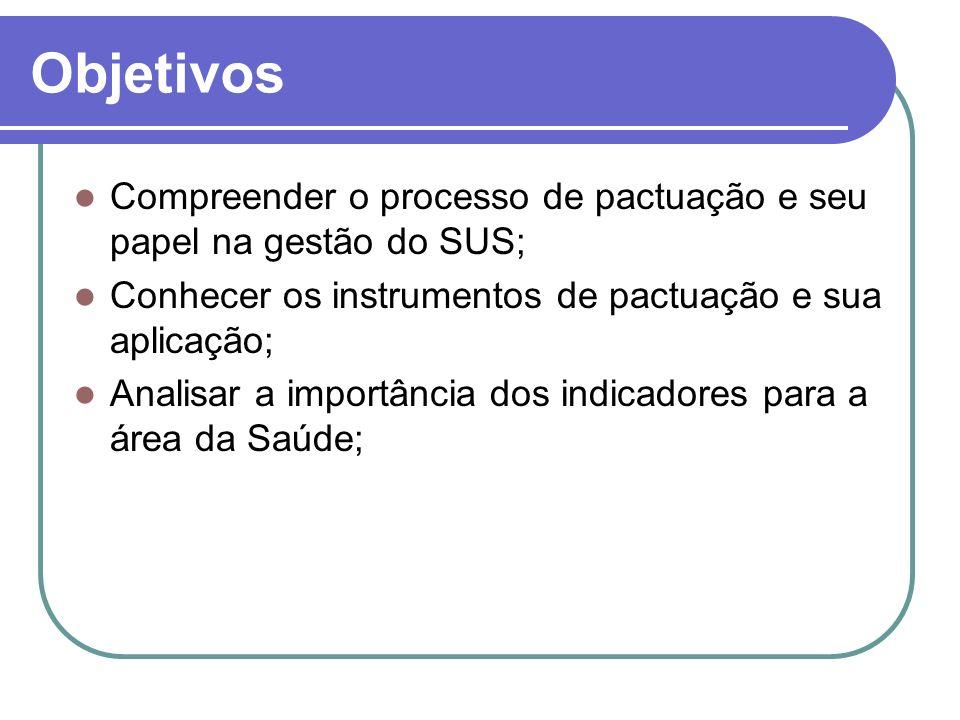 Objetivos Compreender o processo de pactuação e seu papel na gestão do SUS; Conhecer os instrumentos de pactuação e sua aplicação; Analisar a importân