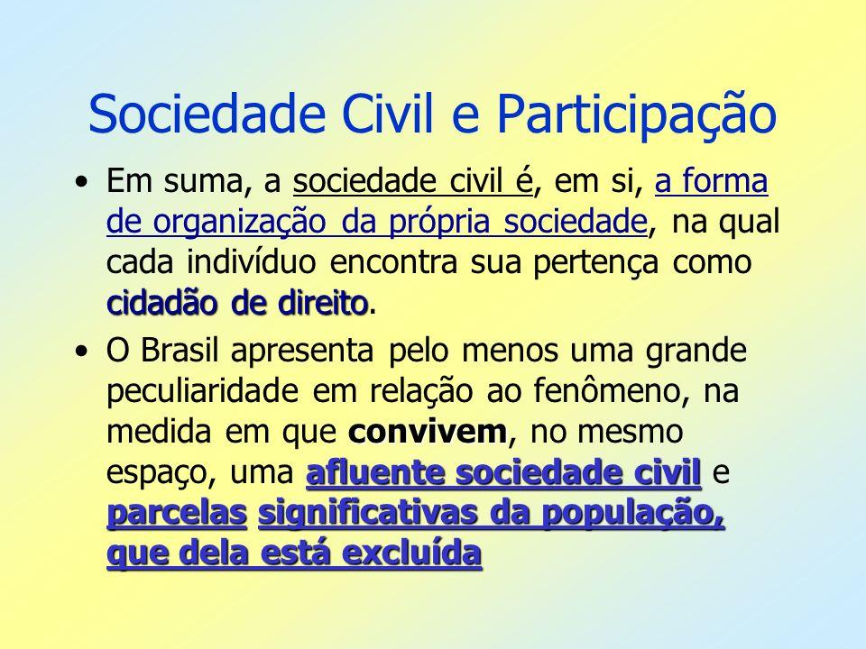Sociedade Civil e Participação cidadão de direitoEm suma, a sociedade civil é, em si, a forma de organização da própria sociedade, na qual cada indiví