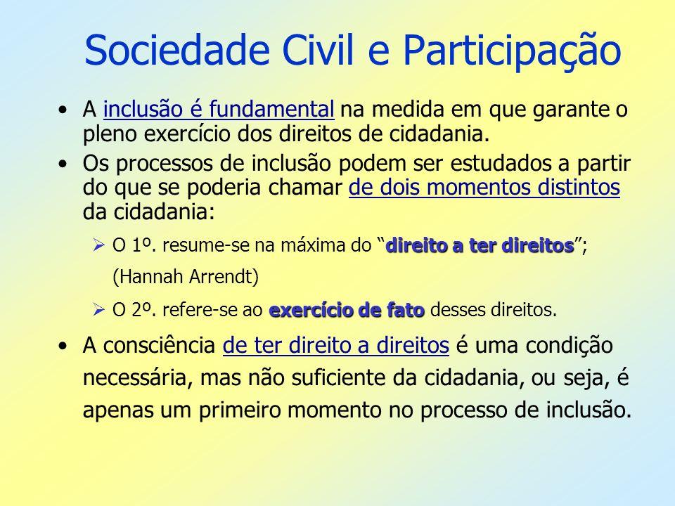 Sociedade Civil e Participação A inclusão é fundamental na medida em que garante o pleno exercício dos direitos de cidadania. Os processos de inclusão