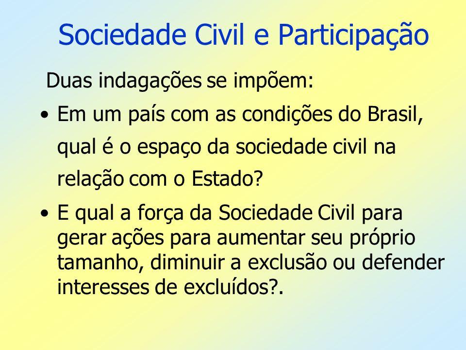 Sociedade Civil e Participação Duas indagações se impõem: Em um país com as condições do Brasil, qual é o espaço da sociedade civil na relação com o E