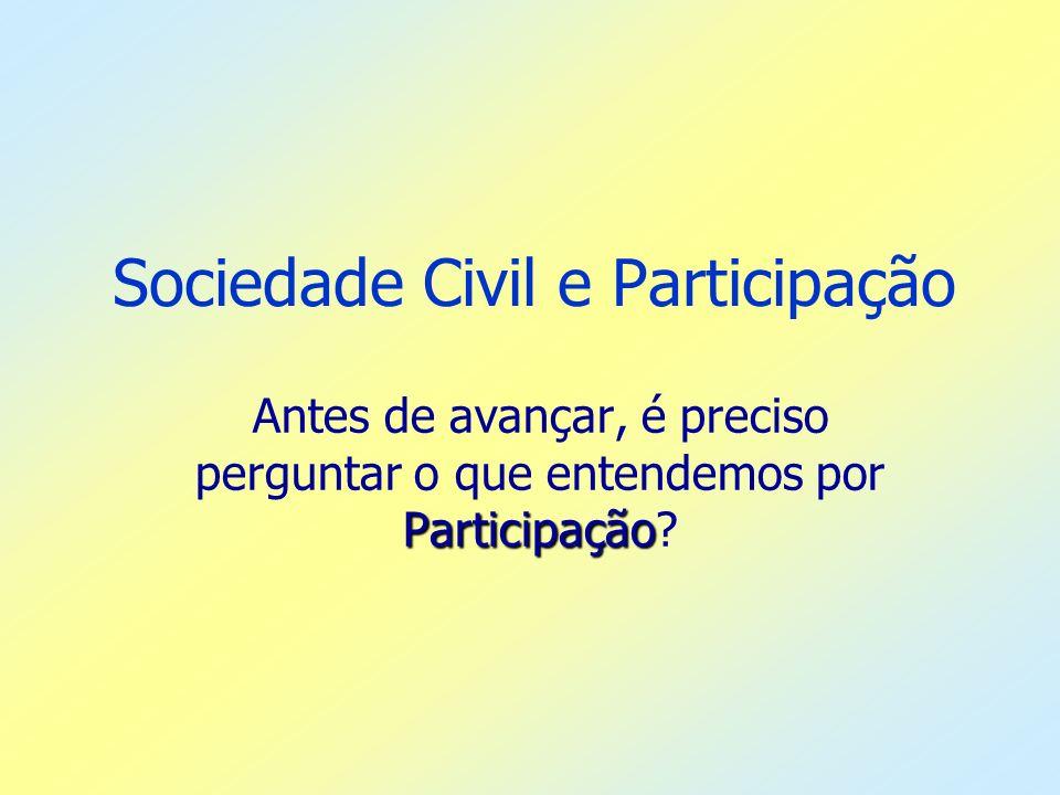 Sociedade Civil e Participação Participação Antes de avançar, é preciso perguntar o que entendemos por Participação?