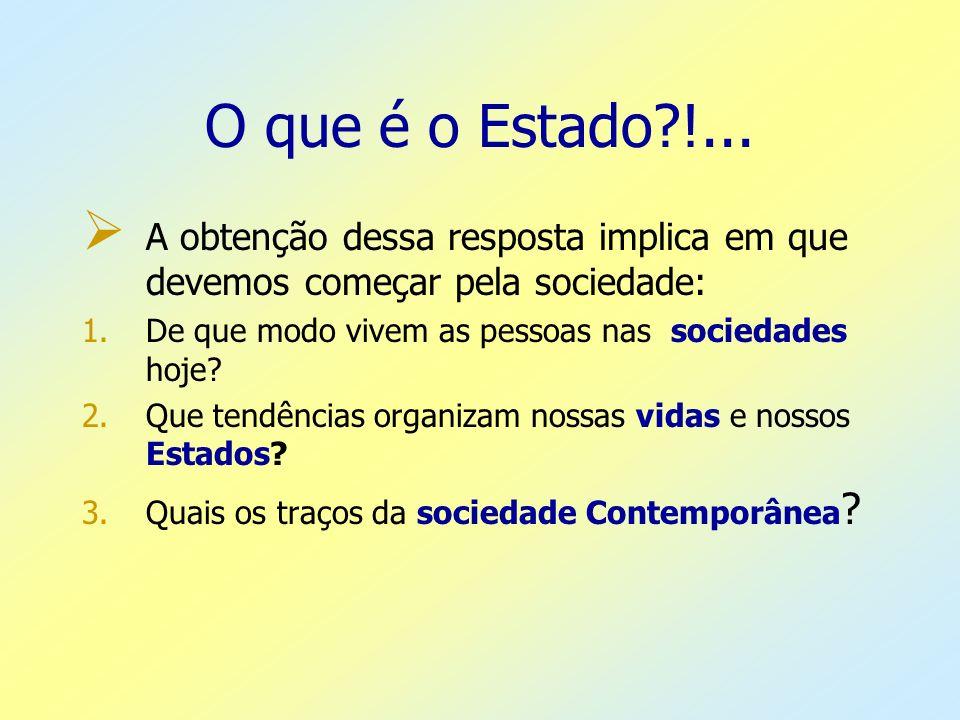 O que é o Estado?!... A obtenção dessa resposta implica em que devemos começar pela sociedade: 1.De que modo vivem as pessoas nas sociedades hoje? 2.Q