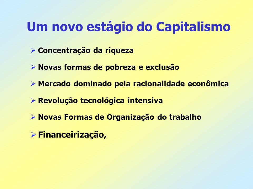 Um novo estágio do Capitalismo Concentração da riqueza Novas formas de pobreza e exclusão Mercado dominado pela racionalidade econômica Revolução tecn