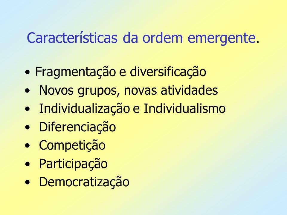 Características da ordem emergente. Fragmentação e diversificação Novos grupos, novas atividades Individualização e Individualismo Diferenciação Compe