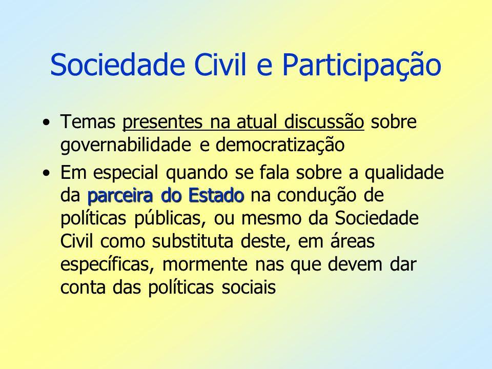 Sociedade Civil e Participação Temas presentes na atual discussão sobre governabilidade e democratização parceira do EstadoEm especial quando se fala