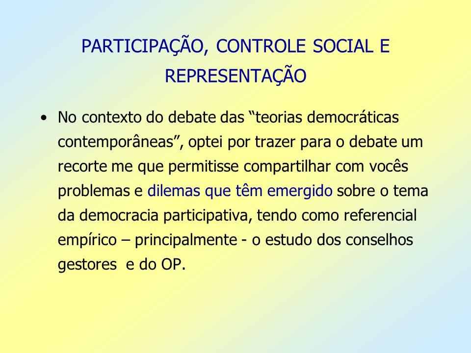 PARTICIPAÇÃO, CONTROLE SOCIAL E REPRESENTAÇÃO No contexto do debate das teorias democráticas contemporâneas, optei por trazer para o debate um recorte