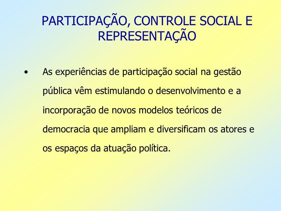 PARTICIPAÇÃO, CONTROLE SOCIAL E REPRESENTAÇÃO As experiências de participação social na gestão pública vêm estimulando o desenvolvimento e a incorpora