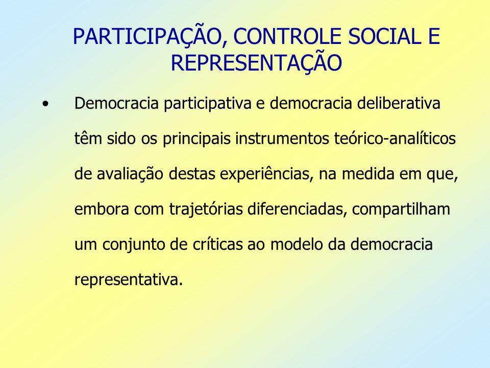 PARTICIPAÇÃO, CONTROLE SOCIAL E REPRESENTAÇÃO participativadeliberativaDemocracia participativa e democracia deliberativa têm sido os principais instr