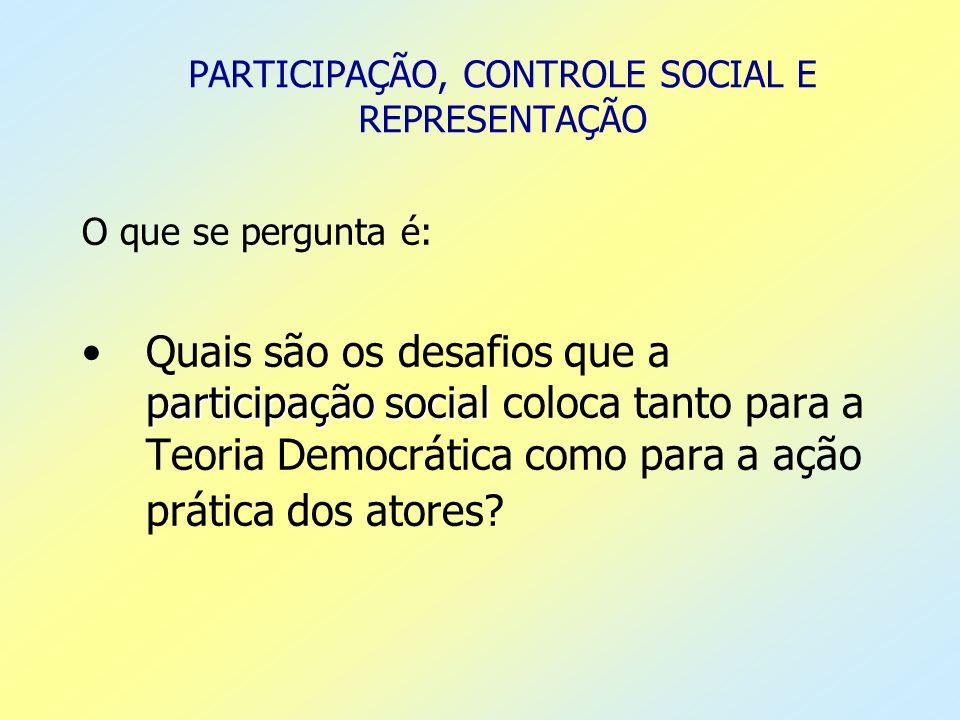 PARTICIPAÇÃO, CONTROLE SOCIAL E REPRESENTAÇÃO O que se pergunta é: participação socialQuais são os desafios que a participação social coloca tanto par