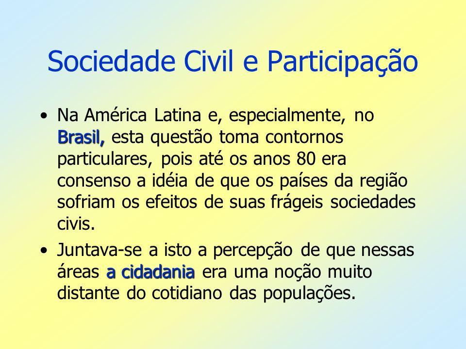 Sociedade Civil e Participação Brasil,Na América Latina e, especialmente, no Brasil, esta questão toma contornos particulares, pois até os anos 80 era