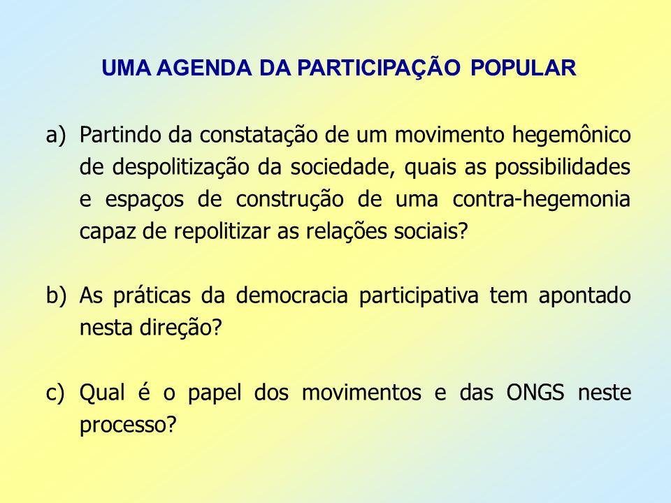 UMA AGENDA DA PARTICIPAÇÃO POPULAR a)Partindo da constatação de um movimento hegemônico de despolitização da sociedade, quais as possibilidades e espa