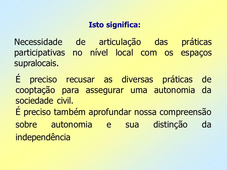Isto significa: Necessidade de articulação das práticas participativas no nível local com os espaços supralocais. É preciso recusar as diversas prátic