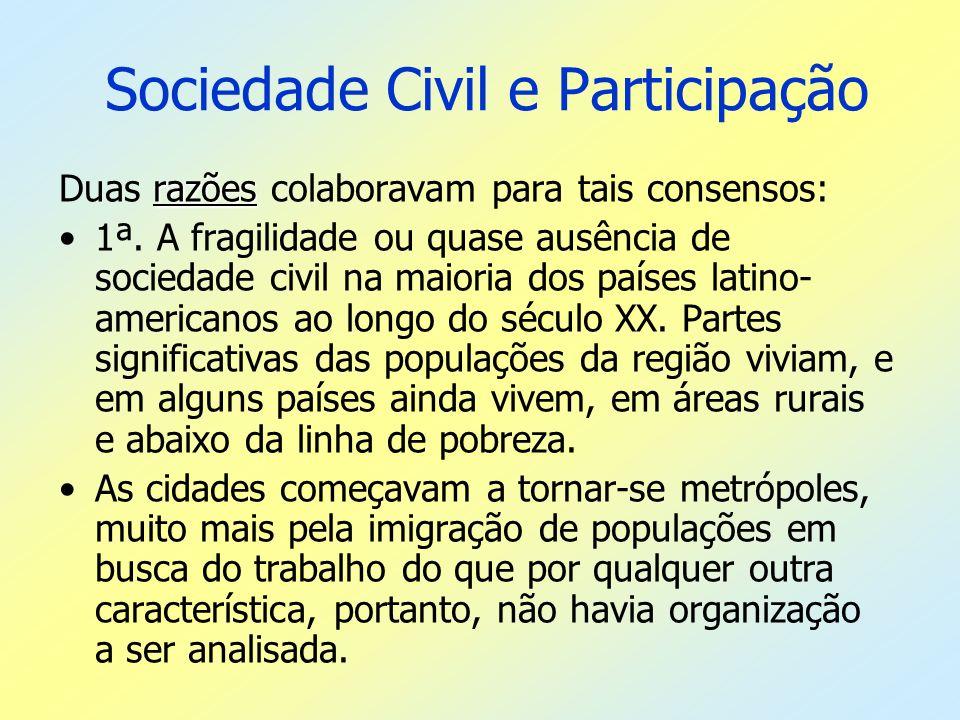 Sociedade Civil e Participação razões Duas razões colaboravam para tais consensos: 1ª. A fragilidade ou quase ausência de sociedade civil na maioria d