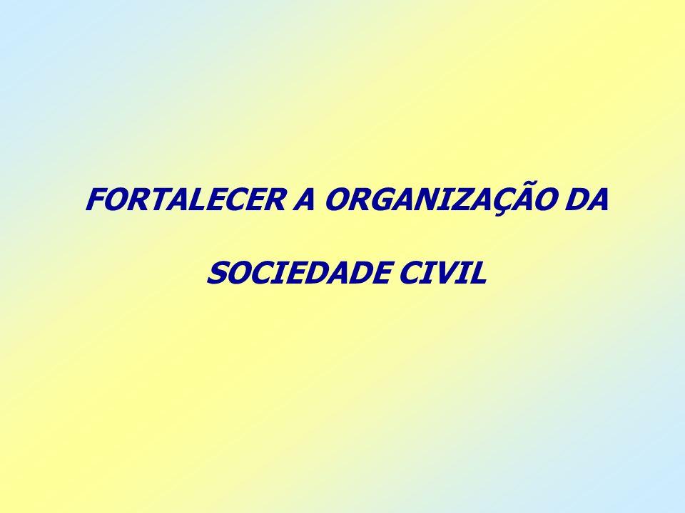 FORTALECER A ORGANIZAÇÃO DA SOCIEDADE CIVIL