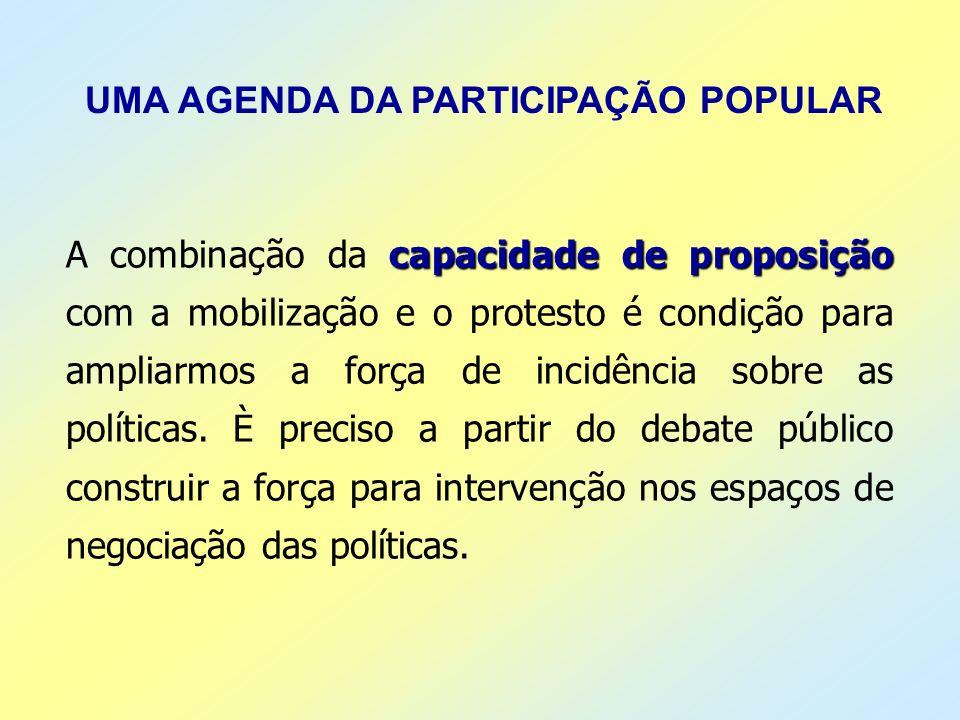 UMA AGENDA DA PARTICIPAÇÃO POPULAR capacidade de proposição A combinação da capacidade de proposição com a mobilização e o protesto é condição para am